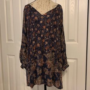 Free People long sleeve floral shift dress-XS